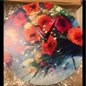 Multicolor floral Wall Clock Kess Inhouse. New